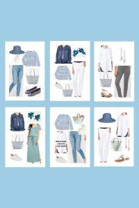 kapszula gardrób kék ruhákkal